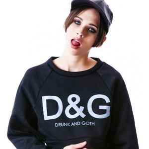 Drunk and Goth Crop Sweatshirt